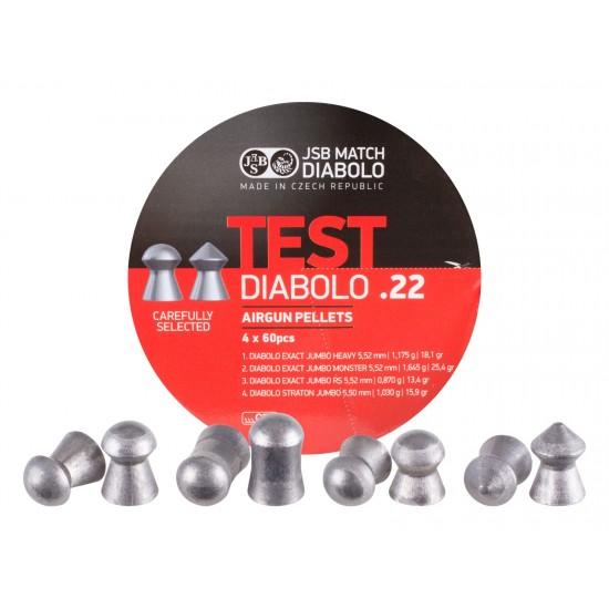 JSB Match Diabolo Test Sampler, .22 Cal, Round Nose & Pointed, 4 Pellet Types, 240ct