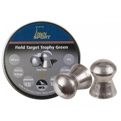 H&N Field Target Trophy Green, .22 Cal, 9.56 Grains, Domed, Lead Free, 200ct