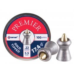 Crosman Premier Gold Tip .22 Cal, 17.4 Grains, Pointed, 100ct