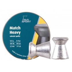 H&N Match Heavy .177 Cal, 8.18 Grains, 4.50mm, Wadcutter, 500ct