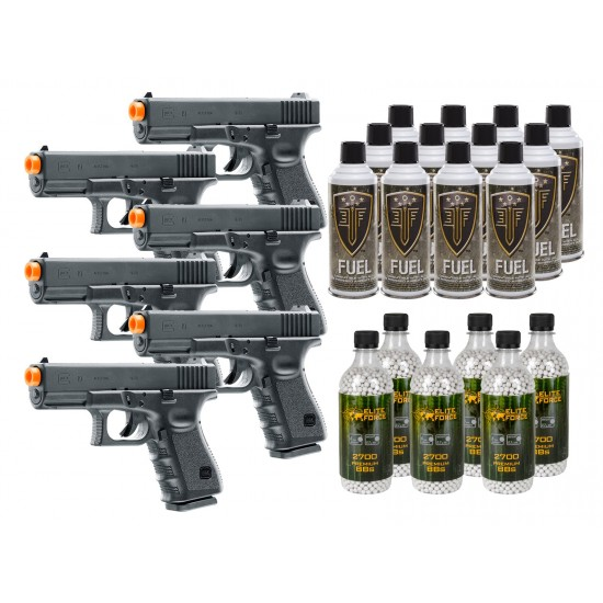 Umarex Glock 19 GBB Airsoft Pistol Kit, Incl. 6 Pistols