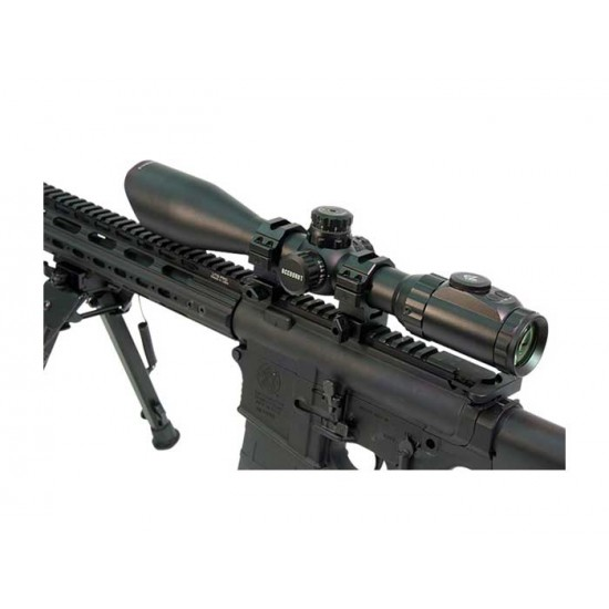 Leapers UTG 3-12x44 AO Accushot SWAT Rifle Scope, EZ-TAP, Ill. Etched Mil-Dot Reticle, 1/4 MOA, 30mm Tube, See-Thru Weaver Rings