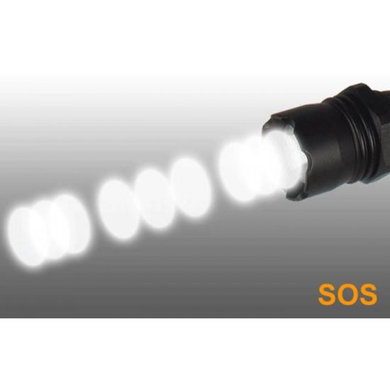 Tactical LED Flashlight, 150 Lumens, 5 Functions, Handheld, Lanyard & Batteries